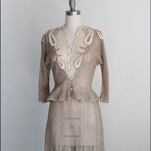 Vtg Tan & Cream Crochet Peplum Skirt Set S/M